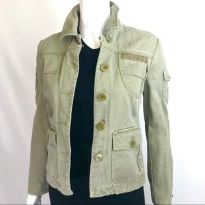 BCBG Max Military Jacket XS Army Green